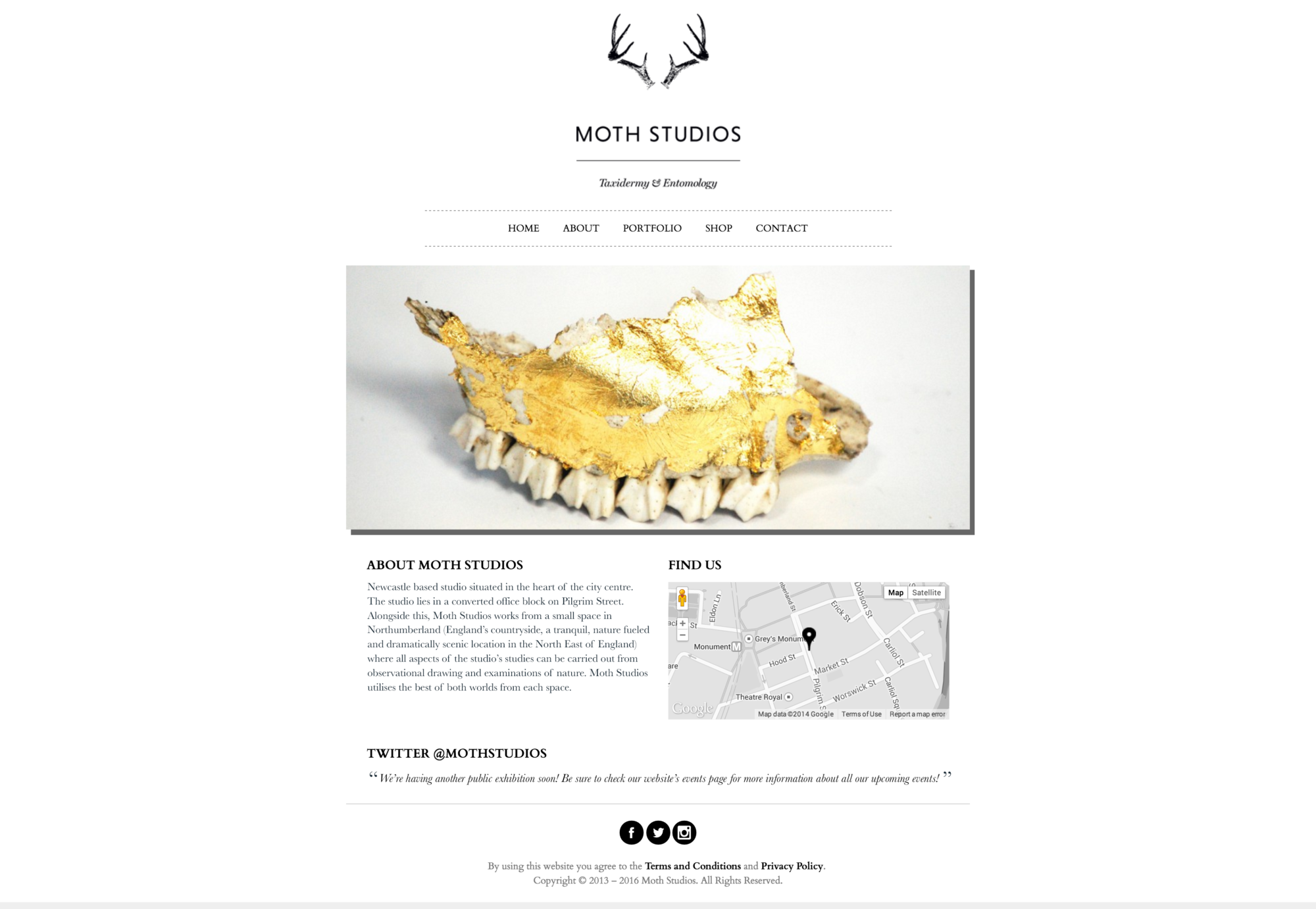 Bespoke homepage web design for Moth Studios