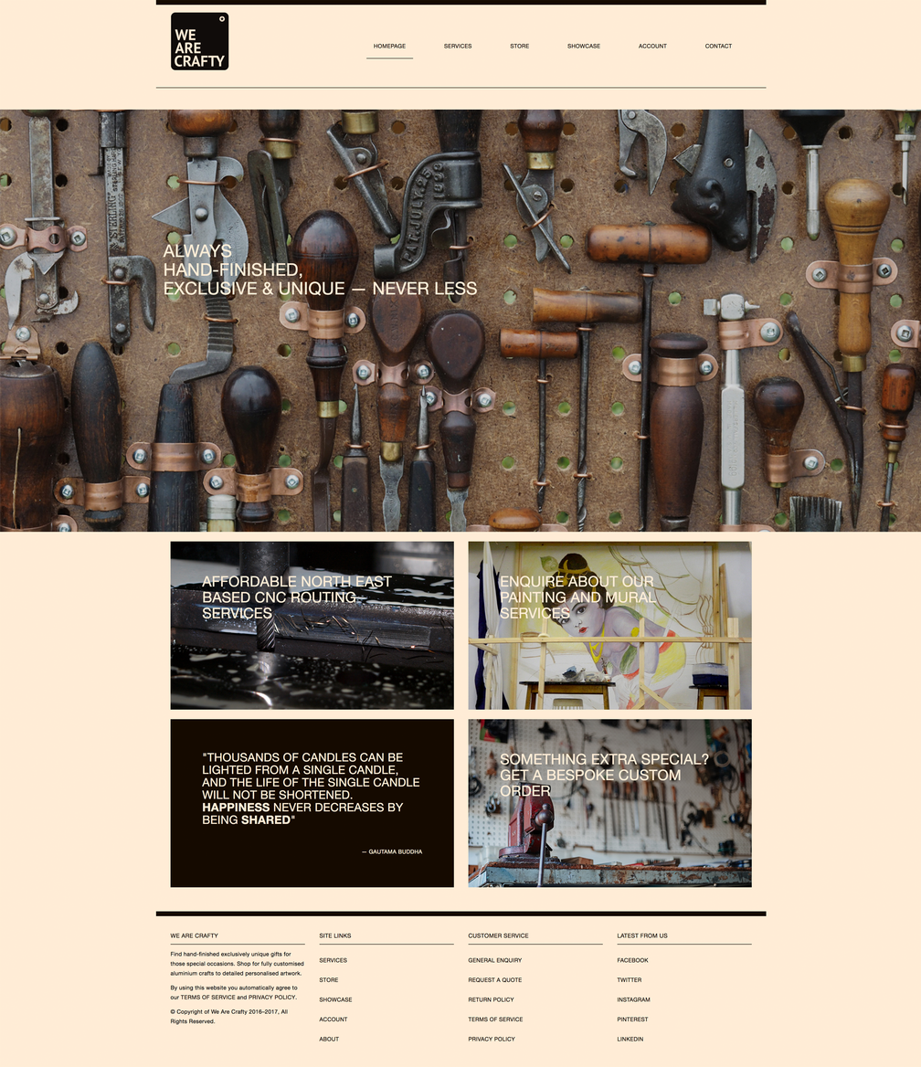 Bespoke homepage web design for We Are Crafty