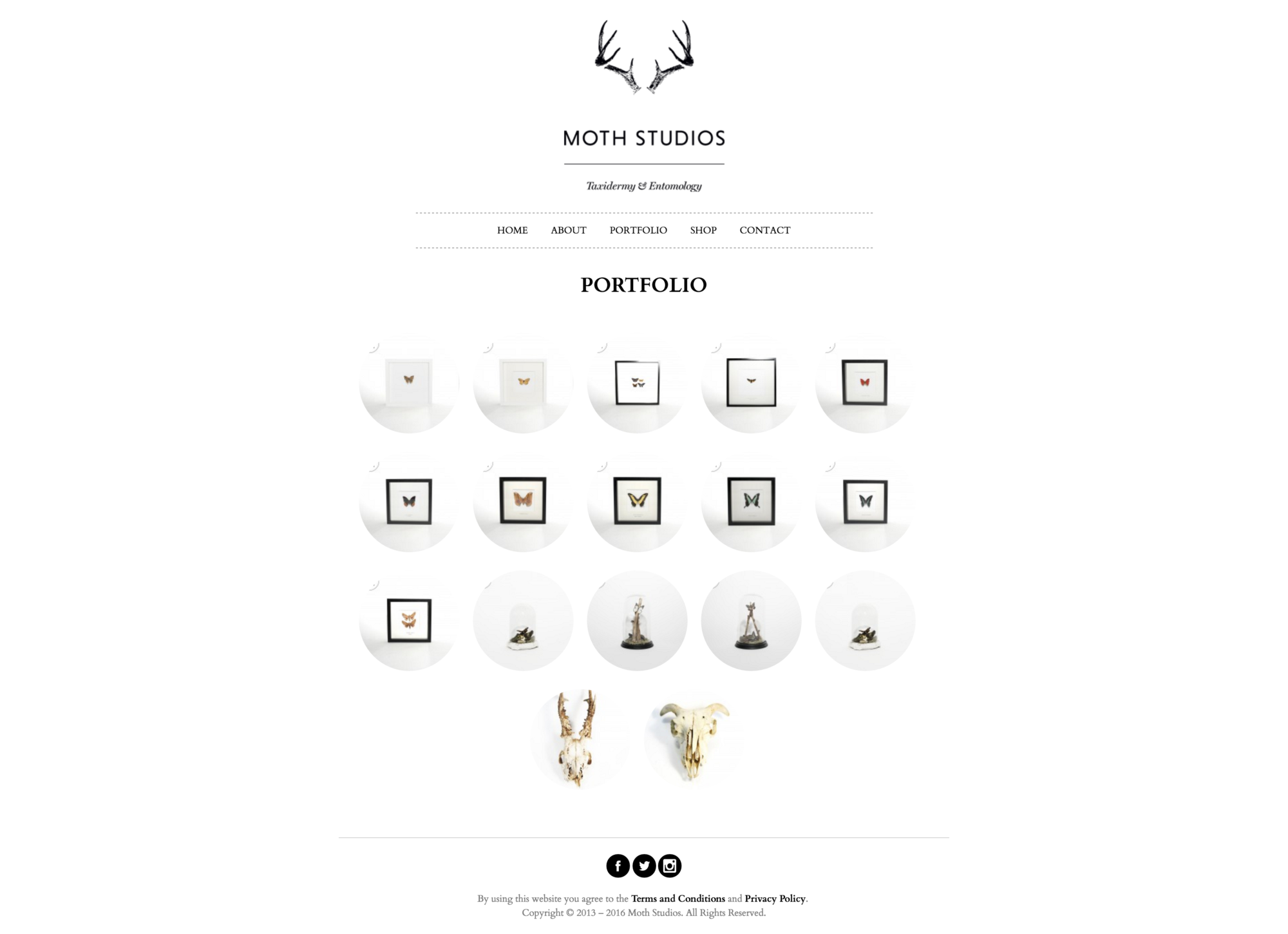 Portfolio page design for Moth Studios