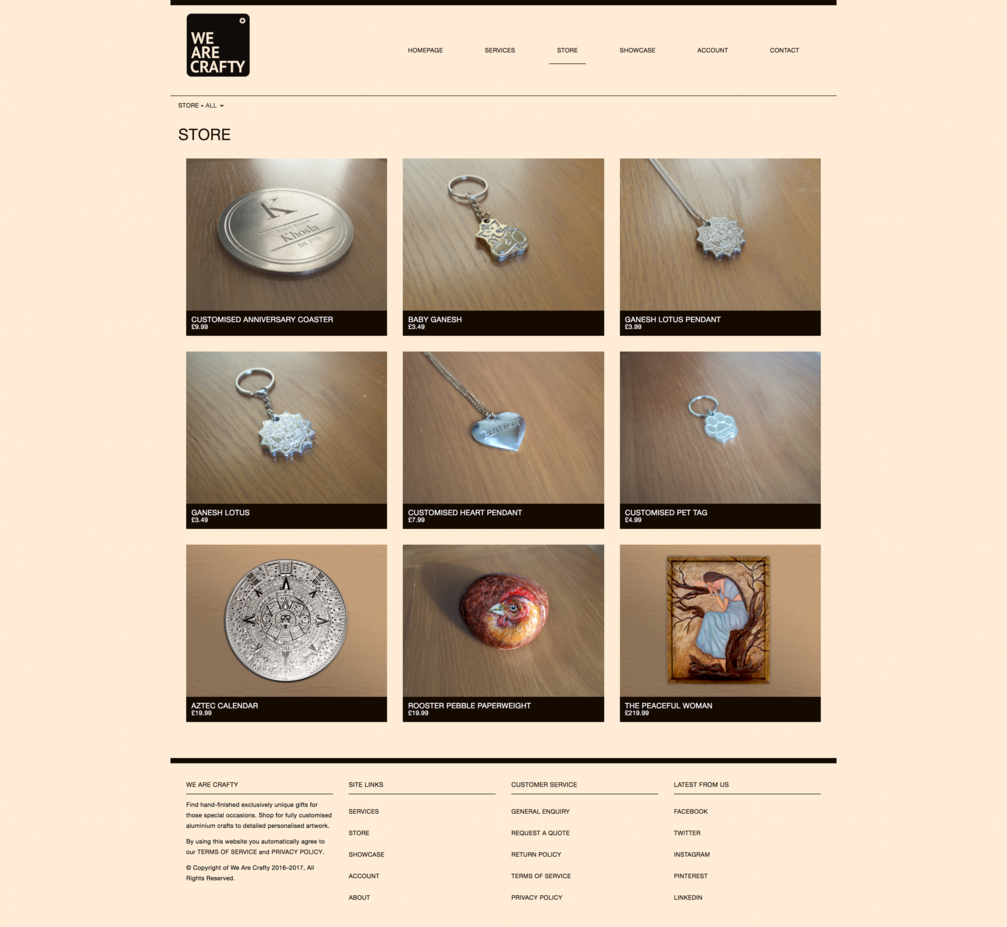 Store page design for We Are Crafty
