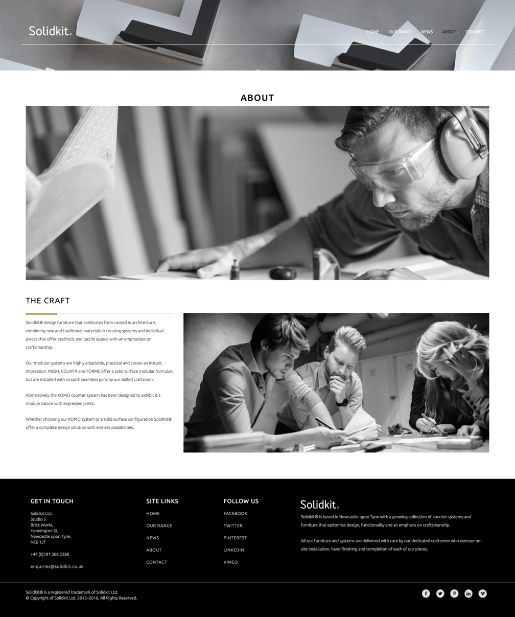 About page design for Solidkit