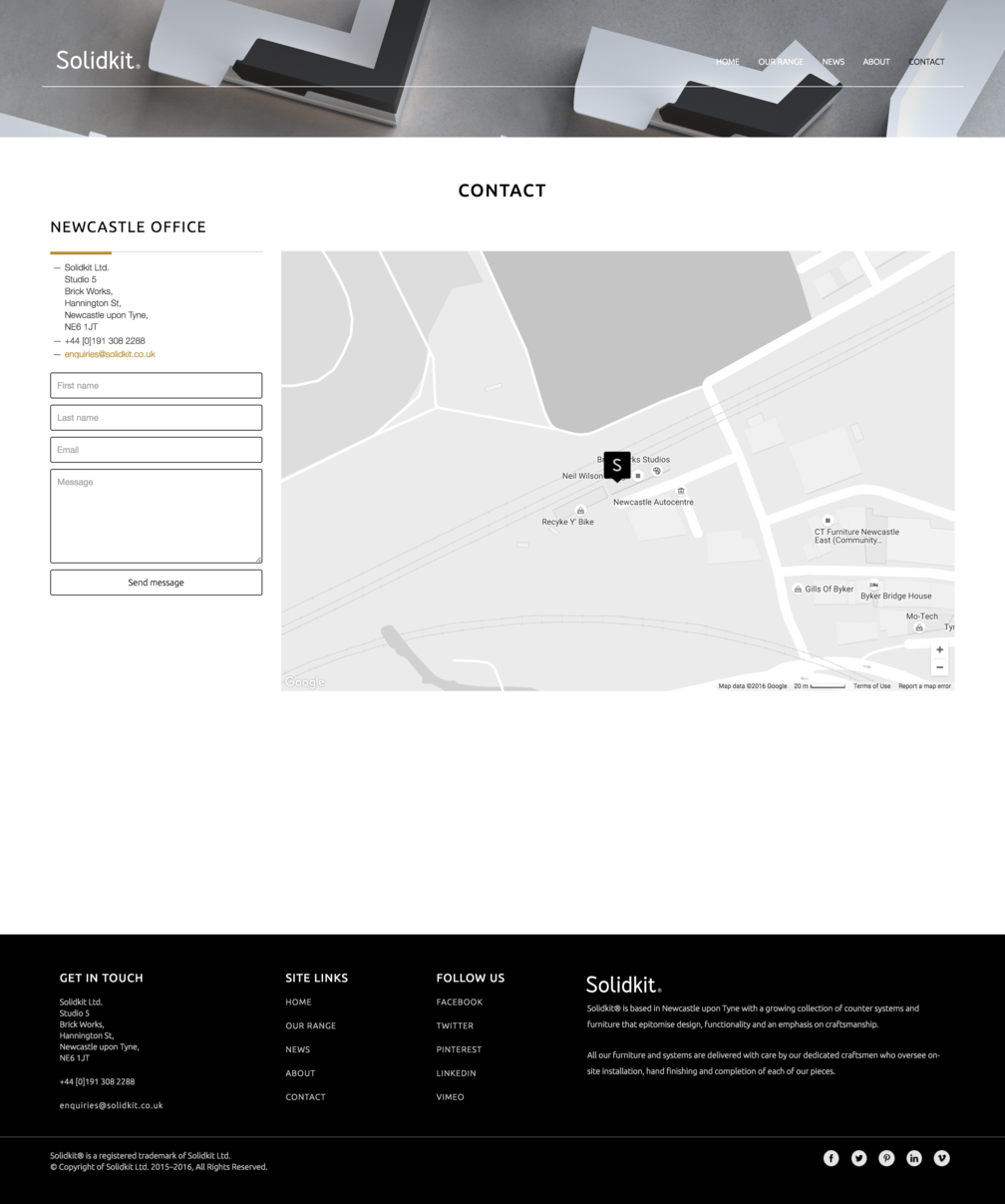 Contact page design for Solidkit