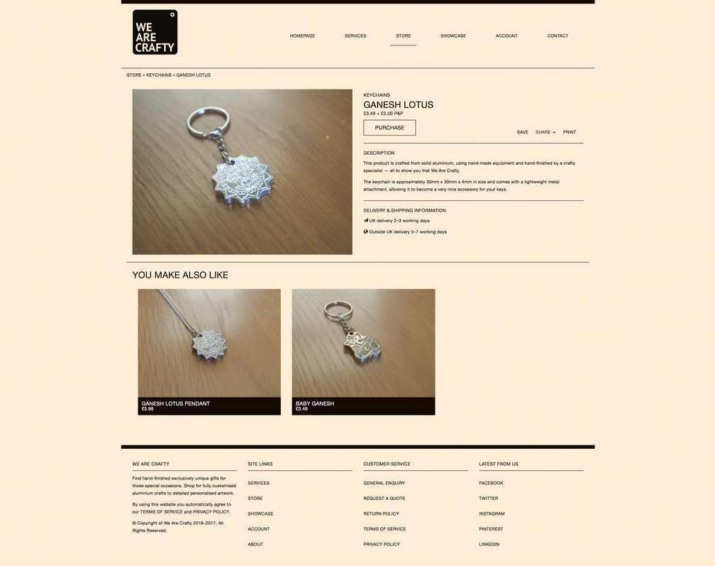 Product page design for We Are Crafty