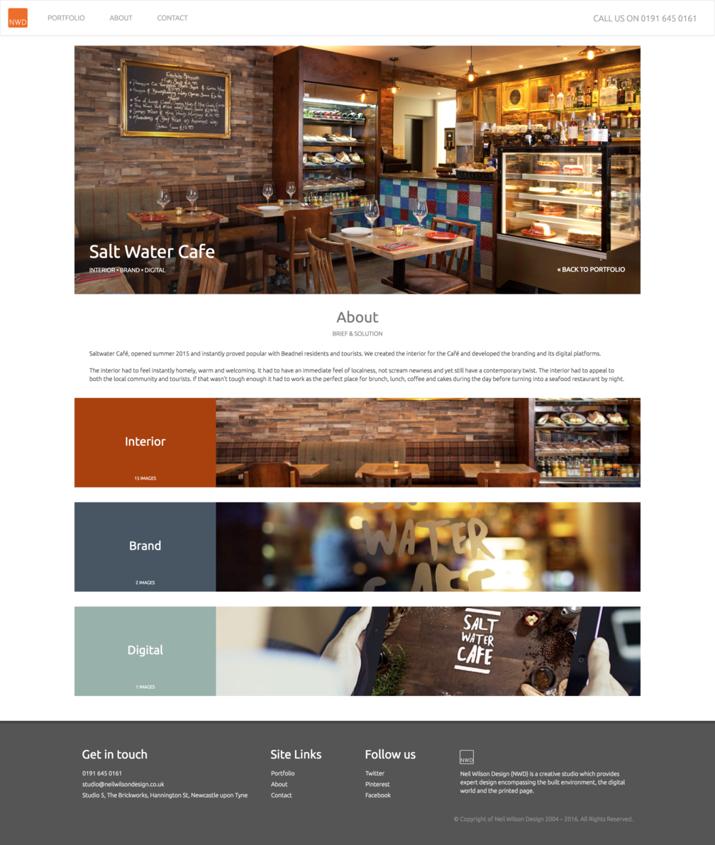 Project page design for NWDs Salt Water Cafe work