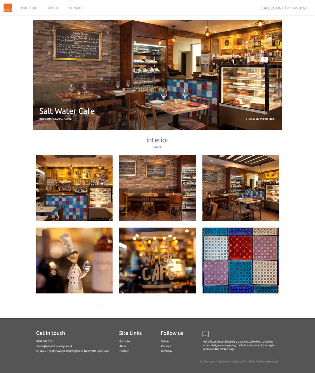 Project interior page design for NWDs Salt Water Cafe work