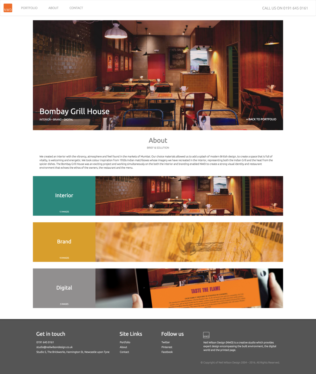 Project page design for NWDs Bombay Grill House work