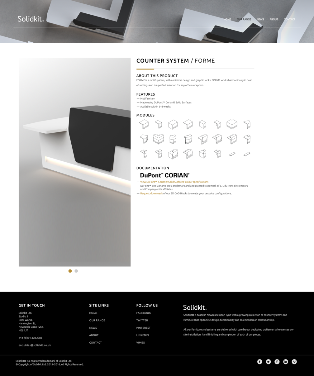 Product page design for Solidkit