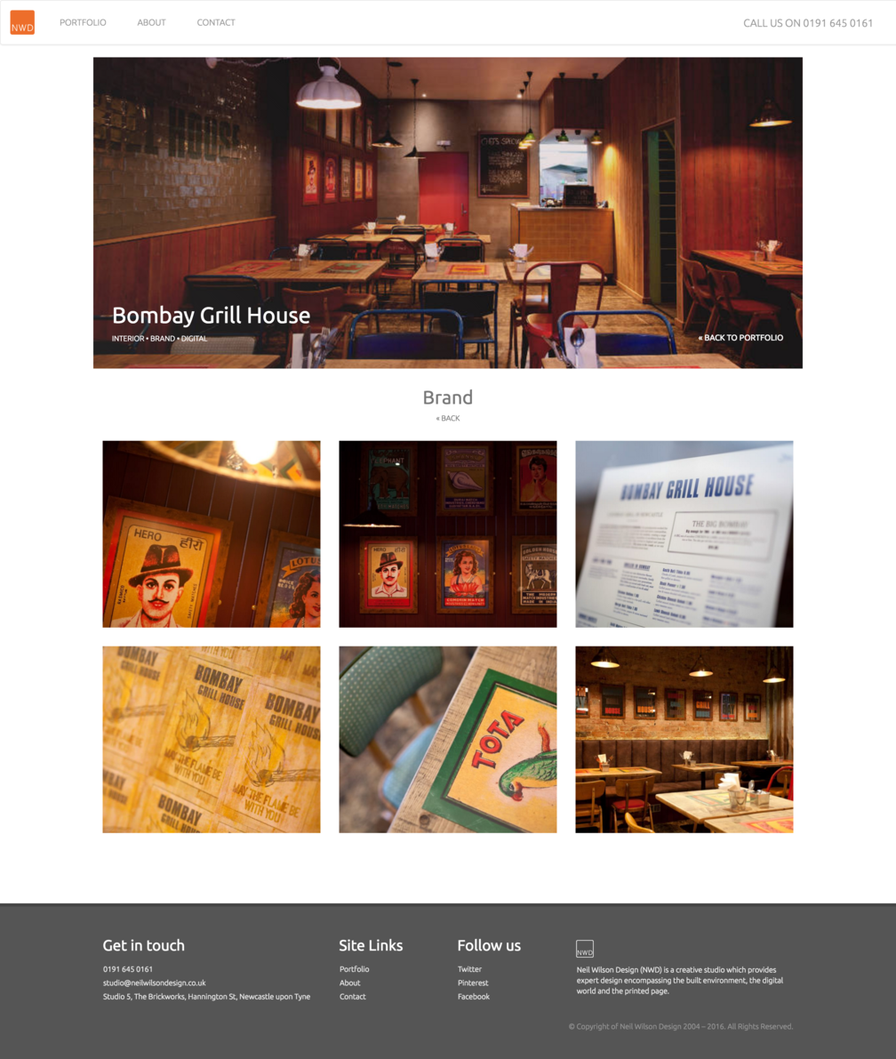Project branding page design for NWDs Bombay Grill House work