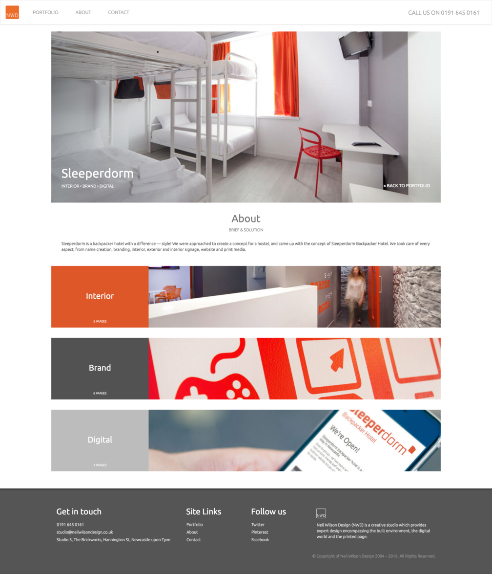 Project page design for NWDs Sleeperdorm work