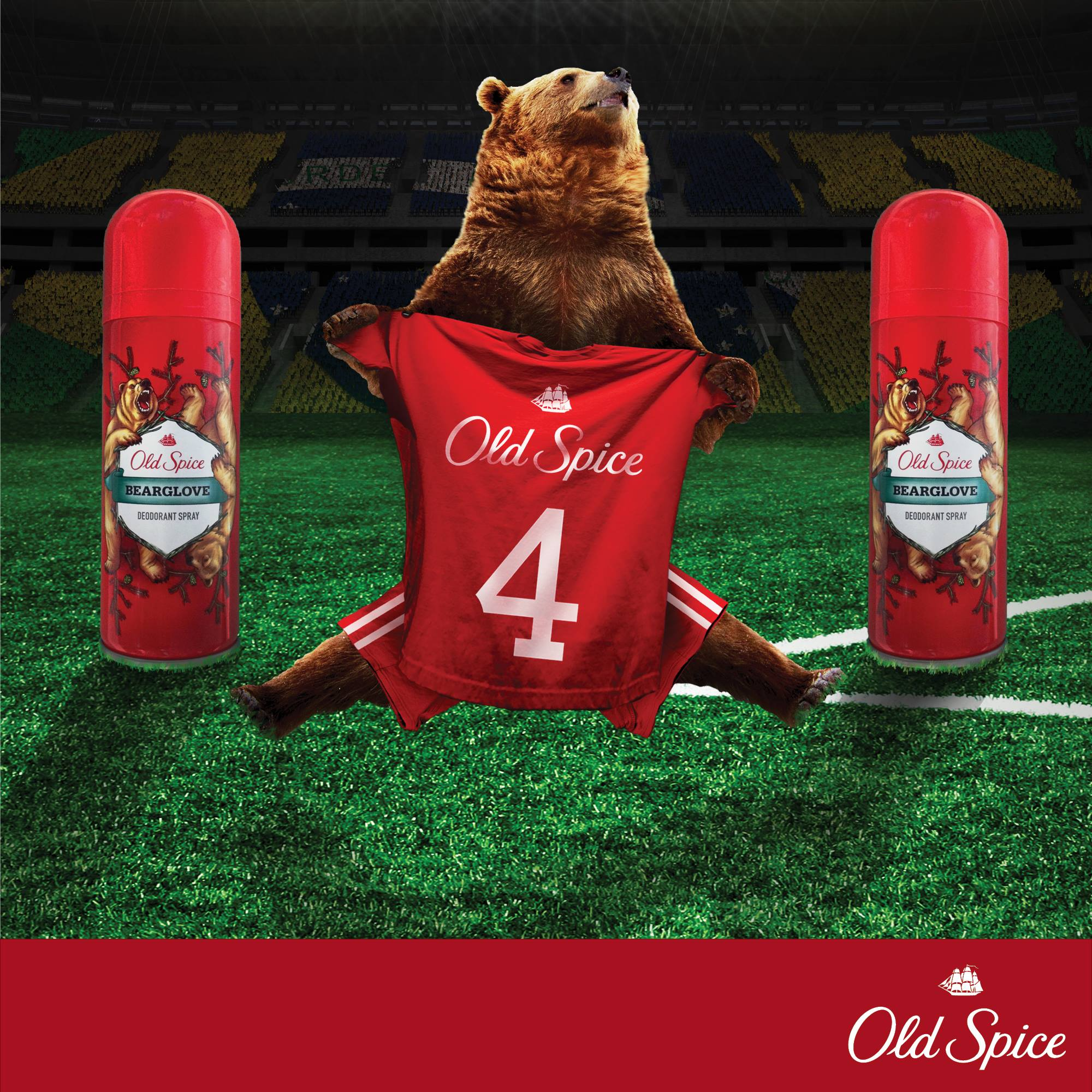 Gorilla social media marketing campaign poster of a bear doing a jumping jack, holding an Old Spice football shirt on a football pitch