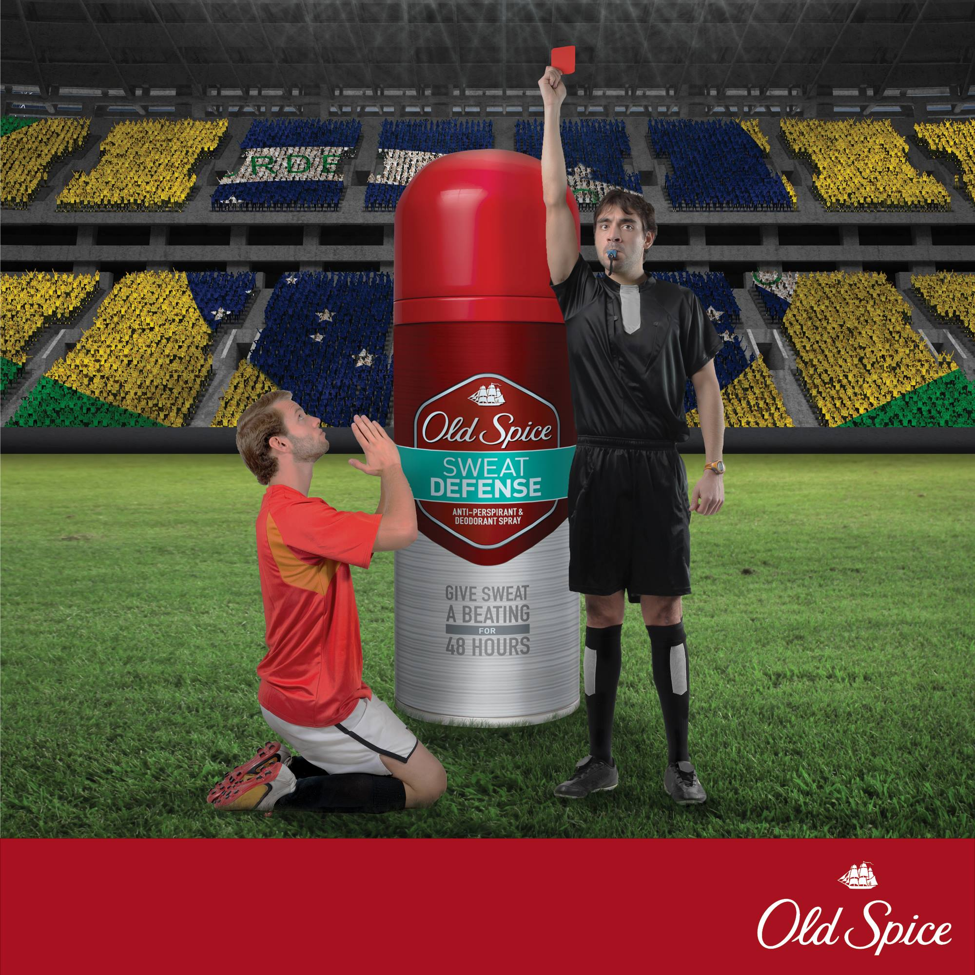 Gorilla social media marketing campaign poster of a football player getting red-carded with an Old Spice can in the background
