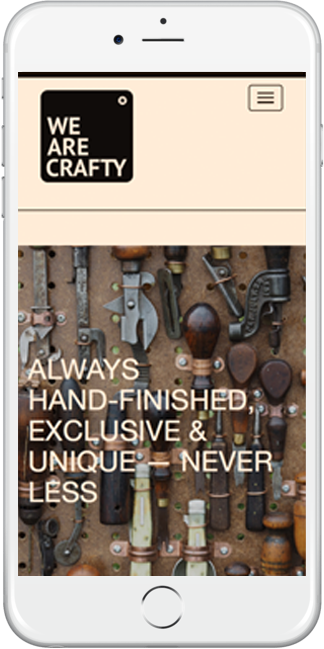 Mobile responsive web design for We Are Crafty