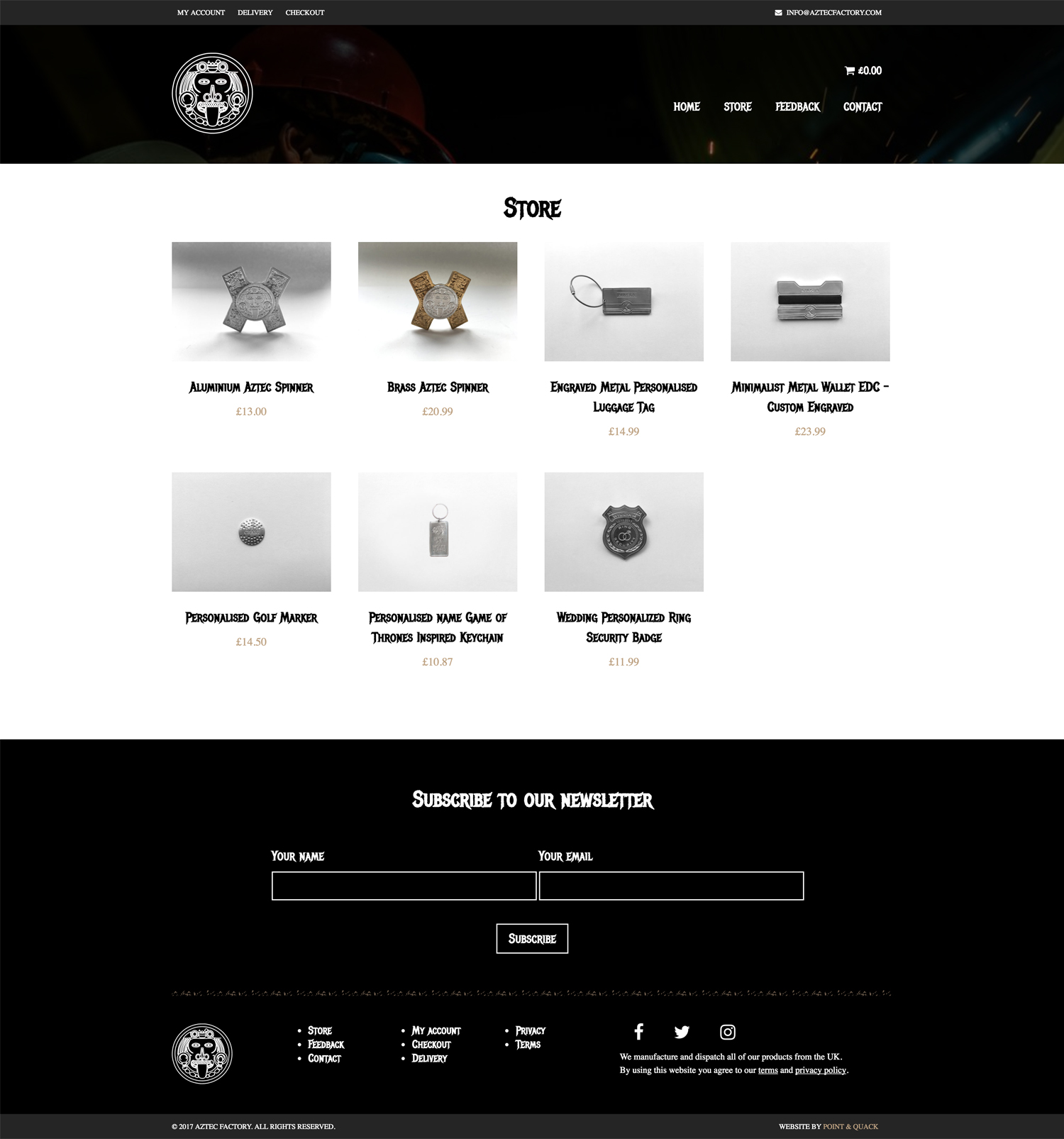 Aztec Factory's WooCommerce store page design