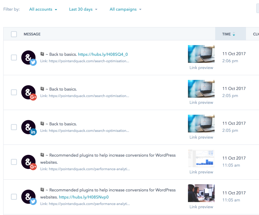 The user interface of HubSpot's social tools