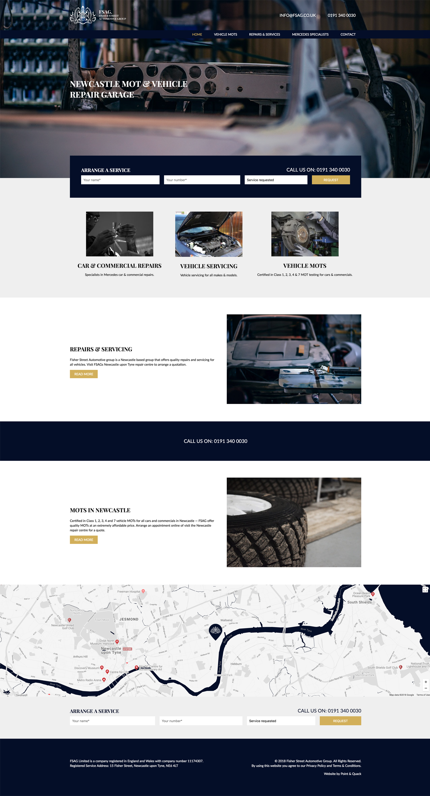 Bespoke homepage web design for FSAG Limited