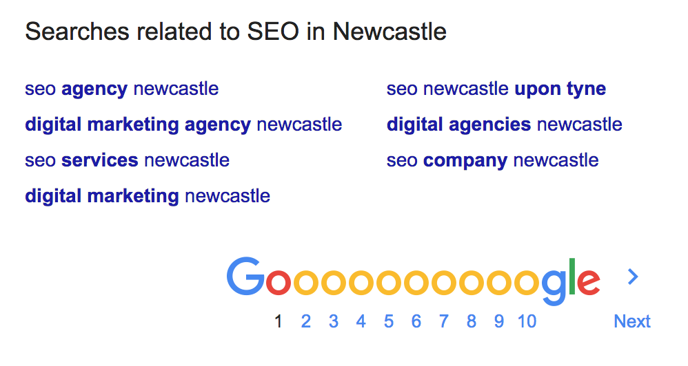 Searching Google for LSIs with the query SEO in Newcastle