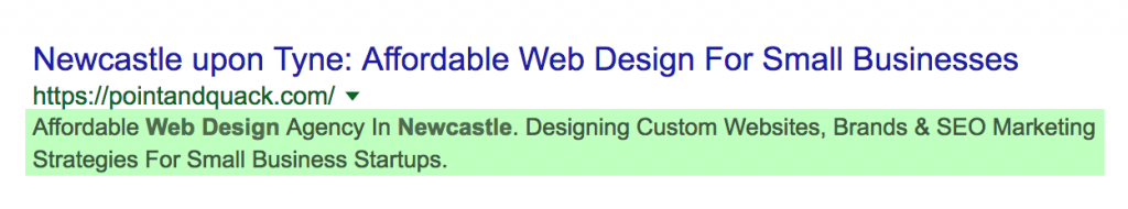 "Example of a meta description appearing in a search result, highlighting the search term words used; ""Web Design"" and ""Newcastle"""
